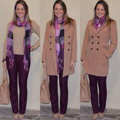 Look de trabalho - look do dia- moda corporativa - work outfit - winter - fall - roxo - burgundy - berinjela - marsala - look de frio