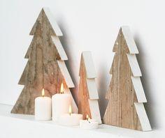 Oggettistica - Kit di 3 alberelli in legno di recupero naturale - un prodotto unico di NuvolediLegno su DaWanda