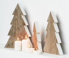 Kit di 3 alberelli in legno di recupero naturale  di Nuvole di Legno su DaWanda.com