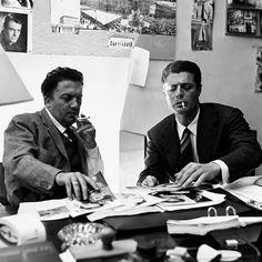 "msmildred: "" Marcello Mastroianni and Federico Fellini, Rome, c. Marcello Mastroianni, Cinema Posters, Film Posters, Fellini Films, Black And White Aesthetic, Alessi, Film Director, Love People, Classic Hollywood"