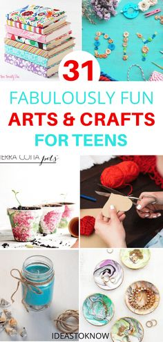 Ultimate collection of tween crafts and craft ideas for teenagers that they can make for fun, give as gifts, or make and sell. Try these DIY crafts for teen girls and get creative. These fun DIY for t Teen Girl Crafts, Diy Crafts For Teen Girls, Arts And Crafts For Adults, Fun Arts And Crafts, Fun Diy Crafts, Diy Projects For Teens, Diy For Teens, Diy Craft Projects, Crafts For Kids
