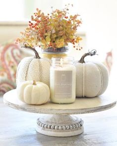 Easy fall decorating idea with white pumpkins and candles on a wooden stand. Love the soft neutral colors! Easy fall decorating idea with white pumpkins and candles on a wooden stand. Love the soft neutral colors! Thanksgiving Decorations, Seasonal Decor, Table Decorations, Holiday Decor, Centrepiece Ideas, Harvest Decorations, Fall Home Decor, Autumn Home, Autumn Decor Living Room