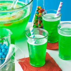 At a Halloween party, the more creepy the food, the better! I like to tuck gummy worms into an ice ring when I make this great green punch. — Michelle Thomas, Bangor, Maine | Magic Potion Punch Recipe from Taste of Home