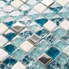 mini 15 15mm blue color crystal glass mosaic tiles for bathroom