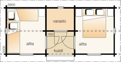 Aitta varastolla  Narsissi    Kerrosala 19 m²  Kokonaiskäyttöala 22 m²