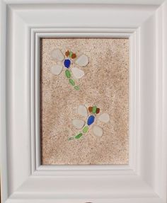 "Real Sea Beach Glass Art - Nautical Decor ""Two Dragonfly's"""