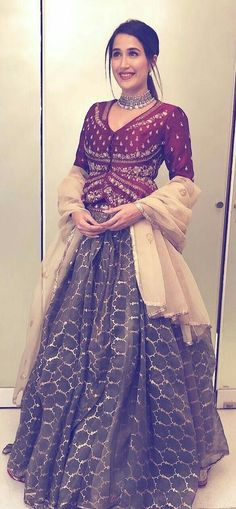 Designer Lehenga & Choli of Marron Colour Choli & Grey Colour Lehenga With Heavy Embroidery on it & Cream Colour LAce Dupatta. To Customised This Garment Log On to www. Indian Wedding Outfits, Indian Outfits, Indian Weddings, Wedding Attire, Indian Attire, Indian Wear, Indian Designer Suits, Lehenga Designs, Indian Couture