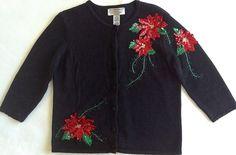 Tiara International Christmas Sequin Cardigan Sweater Top Womens Sz Petite Small #TiaraInternational #Cardigan