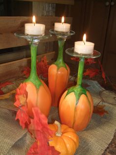 Pumpkin Wine Glass Candle Holders by WereFarFromNormal on Etsy, $27.00