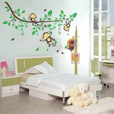 3 Cheeky Monkey on Tree Branch Wall Decals Stickers Removable Kids Nursery Decor
