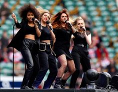 British girl group Little Mix perform ahead of the Aviva Premiership match Between Gloucester and London Wasps at Twickenh...