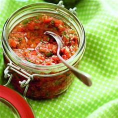 This pesto recipe is made with tomatoes and chilli, which gives it a wonderful kick and vibrant colour. Red Pesto, Food Substitutions, Cooking Recipes, Healthy Recipes, Healthy Foods, Free Recipes, Scandinavian Food, Tapenade, Delicious Magazine
