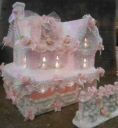 shabby-pink-victorian-christmas-village-house-figure-chic-hp-ooak-roses
