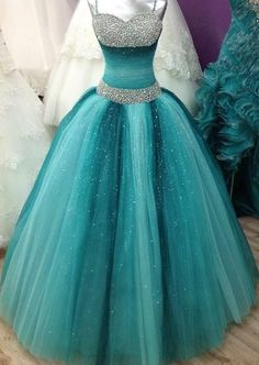Prom Dresses For Teens, Spaghetti Straps Long Ball Gown Prom Dresses,Beading Sequin Shiny Prom Gowns,Quinceanera Dresses,Modest Prom Dress FOr Teens Short prom dresses and high-low prom dresses are a flirty and fun prom dress option. Sweet 16 Dresses, Elegant Dresses, Cute Dresses, Formal Dresses, Formal Prom, Wedding Dresses, Dresses Dresses, Quince Dresses, Turquoise Quinceanera Dresses