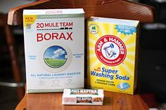 1/3 bar of Fels Naptha soap:removes stains  1/2 C Borax:anti-fungal/anti-mold, bleach alt.  1/2 C A&H Washing Soda:deordorizes, degreases,de-stains  Water  bucket  Grate/dice 1/3 of  soap, put in sauce pan. Add 6 C water, heat until soap melts. Add soda & borax, stir to dissolve.Put 4 C tapwater in bucket, add soap mixture, stir. Add 2 C more water, stir.  Let the soap cool/set up for about 24 hrs, should be somewhat thick.  Add 1/2 C to each load.