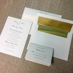 This simple and elegant wedding invitation paired with a gold envelope liner is all types of beautiful! We wish the Mr. and Mrs. Johnson many years of love and laughter. Thank you for choosing Paper + More to be apart of your special day!   #papernmoreok #pnmbrides #simpleandelegant #weddinginvitations