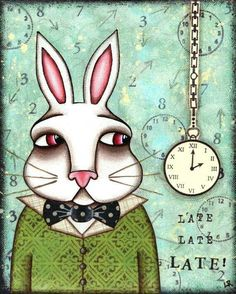 White Rabbit & pocket watch art (Alice in Wonderland)