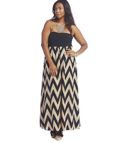"""<p>This ultra-chic maxi dress is perfect for a romantic date night. It features a stretchy knit tube top with lining in the front, a slight sweetheart neckline, chiffon skirt with a chevron print, and a finished hem. Skirt is partially lined.</p>  <p>Model is 5'9"""" and wears a size 1X.</p>  <ul> <li>100% Polyester</li> <li>Hand Wash</li> <li>USA</li> </ul>"""