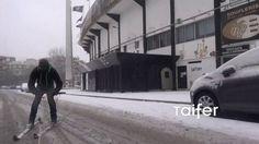 Τρελοί Θεσσαλονικείς κάνουν σκι στην Τούμπα