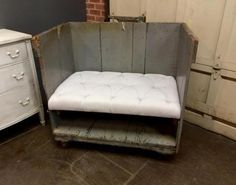 """Industrial Cart Made Into Bench   41"""" Wide x 26"""" Deep x 37"""" High   $595  Dealer #203  Lost. . .Antiques 1201 N. Riverfront Blvd. Dallas, TX 75207  Monday - Saturday: 10am - 5pm Sunday 11a"""