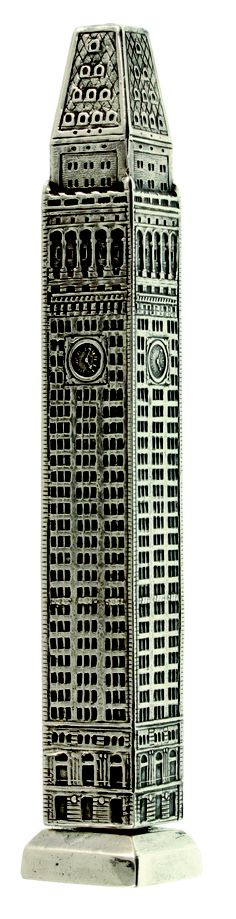 A Tiffany novelty sterling silver pencil styled as The Metropolitan Life Tower Building in New York. Length closed 62mm, open 105mm. Courtesy of The KB Collection