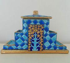Rare Antique French Longwy Tobacco Jar Arts & Crafts Mission Bungalow Art Deco