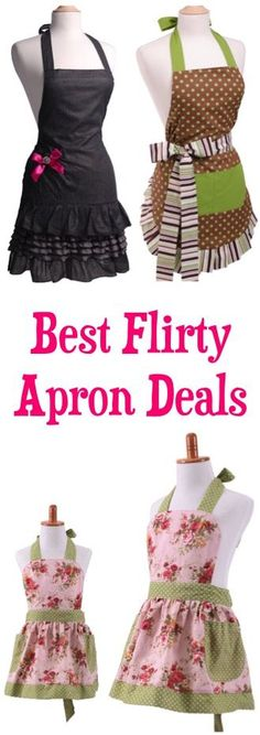 Best Flirty Apron Deals! ~ these make such CUTE gifts, and the matching sets are so sweet! #aprons | TheFrugalGirls.com