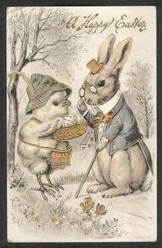 A Happy Easter chick & gentleman rabbit gilded embossed postcard 1912 Easter Art, Hoppy Easter, Easter Crafts, Easter Bunny, Lapin Art, Illustrations Vintage, Easter Parade, Bunny Art, Easter Printables