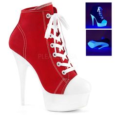 Hot For Heels And More - Pleaser Red Canvas And Neon White - Lace up front canvas sneaker featuring UV black light reactive platform bottom, full inside zip closure. Hot High Heels, High Heel Boots, Heeled Boots, Shoe Boots, White Platform Sneakers, Platform High Heels, Buy Shoes, Me Too Shoes, Sneaker High Heels