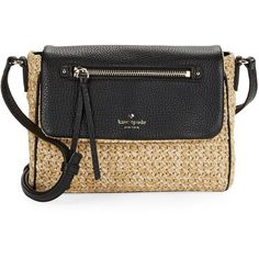 Kate Spade New York Mini Toddy Leather-Trimmed Woven Crossbody ($178) ❤ liked on Polyvore featuring bags, handbags, shoulder bags, mini purse, kate spade shoulder bag, kate spade handbag, miniature purse and woven purse