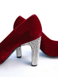 70s Red Velvet Rhinestone Platforms from Paris