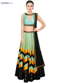 GREEN AND MULTI COLOR RAW SILK LEHENGA CHOLI