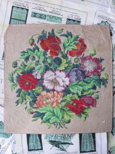 Довольно старинная ручной росписью Берлин Woolwork График - Ф З Neuc Лущ Грун - нет 33 | ибее