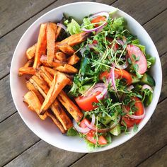 Yum! Huge garden salad and baked Mexican spiced sweet potato chips for dinner. So easy and delicious!!