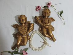 Golden Angels Wall Decor Set of 2 Cupids by LuRuUniques on Etsy