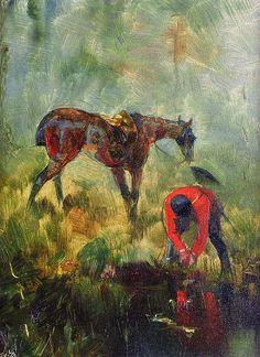 Hunting Horse with Hounds - PC. Henri de Toulouse-Lautrec.