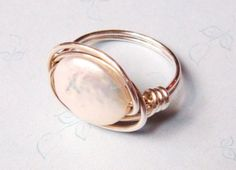 Pearl Ring  White Coin Pearl Ring  Sterling by SpiralsandSpice, $19.95