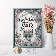 """Постер с фразой """"Важен каждый миг"""" от художницы Юлии Григорьевой станет прекрасным подарком. Добрая иллюстрация с изображением лисы в волшебном лесу."""
