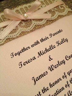 Rustic Burlap and Lace Shabby Chic Wedding Invitation Sets (RSVP included) in Blush Pink and Off-White