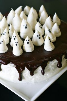 Ghost Cake #halloween could probably get ghost meringues from bakers & sit on a cake