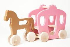 Start your child on the path of imaginative play. A traditional rolling toy with a romantic twist, our Wooden Horse & Carriage will bring a sprinkling of magic fairy dust to your child's room. Perfect for the eco-conscious family, this adorable toy is handcrafted by artisans in California. The bodies of the horse and carriage are fashioned out of post-industrial recycled wood residuals while the wheels are made from new sustainably-managed solid wood.