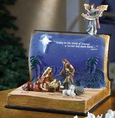 Nativity Scene in an Open Bible Statue Set Christmas Nativity Scene, Christmas Room, Christmas Projects, Vintage Christmas, Christmas Holidays, Christmas Decorations, Christmas Ornaments, Nativity Scenes, Christmas Bells
