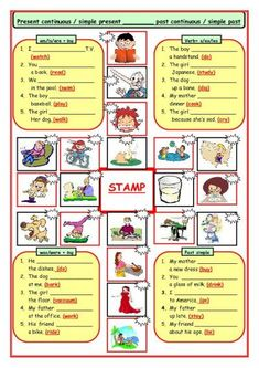 present simple or present continuous for children