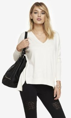 V-NECK DOUBLE ZIP VENT TUNIC SWEATER from EXPRESS Love this in black