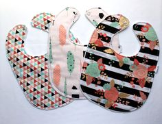 Baby Bib Set - Modern Baby Bib Set - Gold Floral, Feather, and Triangle Print - Gold, Mint, and Pink Bibs - White Minky - Handmade Baby - pinned by pin4etsy.com