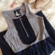 :: twelve by twelve dress :: Worn once. Bubble style bottom (tight on thigh). Navy and gray. Forever 21 Dresses