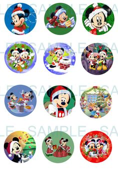 Mickey Mouse Christmas, Christmas Birthday, Bottle Cap Crafts, Bottle Caps, Christmas Images, Christmas Crafts, Parchment Cards, Bottle Cap Images, Mouse Parties
