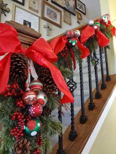 Stair rail Christmas decorations...