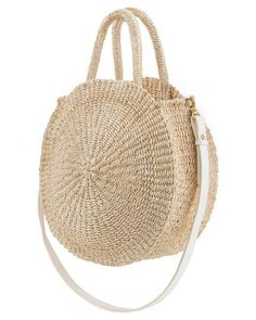 Reminiscent of circular vintage luggage, the Cream WovenAlice's sisal weave paired with the pronounced edges gives this bag a beautiful shape and structure that is refreshingly modern. Clare V. is based in LA. All bags are handmade in the United States. – Dimensions: 13 inches in diameter and 4 inches deep –32-inch a