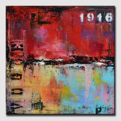 "26"" Abstract Urban Painting, Art Painting , Wall Decor, Wall art, Red abstract art,  industrial modern abstract painting sofa knife art"